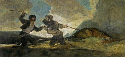 Duelo a garrotazos o La riña es una de las pinturas de Goya, a partir de la cual, Serres, realizó una profundainterpretaciónpara su libro.